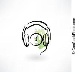 grunge, audífonos, icono