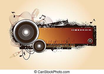 grunge, audio, diseño, relacionado