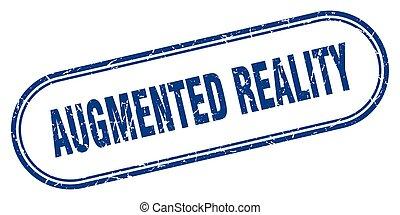 grunge, augmented, etikett, wirklichkeit, gerundet, stamp., ...