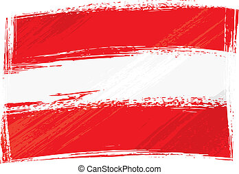Austria national flag created in grunge style