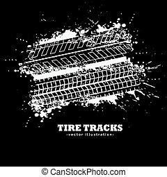 grunge, autógumi, elvont, sötét, sín, háttér, megjelöl