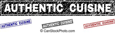 Grunge AUTHENTIC CUISINE Textured Rectangle Stamps