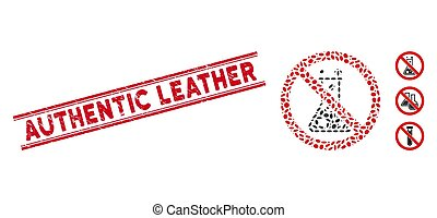 Grunge Authentic Leather Line Stamp with Collage No Chemical Reaction Icon