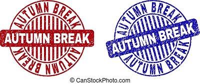 Grunge AUTUMN BREAK Textured Round Stamps