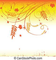Grunge autumn floral background