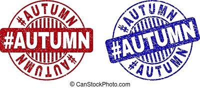 Grunge #AUTUMN Scratched Round Stamps