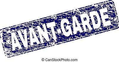 Avant garde text, on blue rectangle border stamp  Avant