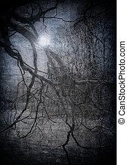 grunge, avbild, av, mörk, skog, perfekt, halloween, bakgrund