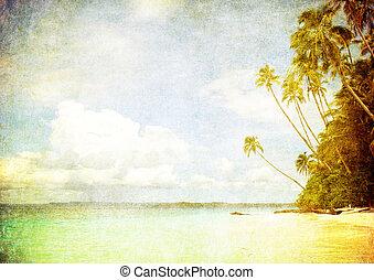 grunge, avbild, av, tropical strand