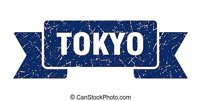 grunge, azul, ribbon., banda, señal, tokio