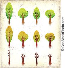 grunge, bäume, heiligenbilder, satz