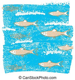 grunge, błękitny, papier, podwodny, tło, stary, ryby