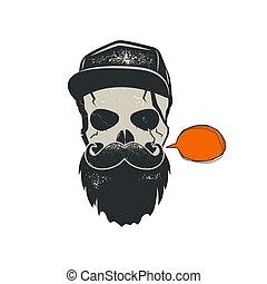 grunge, bańka, beard., szykowny, rocznik wina, korona, odizolowany, ilustracja, ręka, tło., wektor, hipster, czaszka, zacytować, emblemat, pociągnięty, biały, pień, design.
