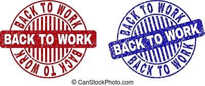 Grunge BACK TO WORK Textured Round Stamp Seals