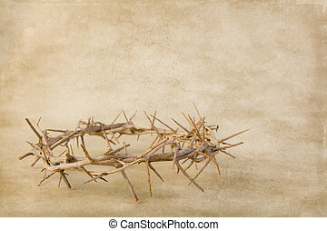 Grunge backdrop with crown of thorns