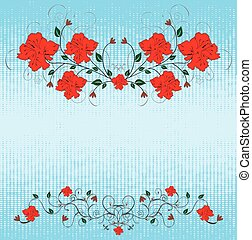 Grunge backdrop with red flowers