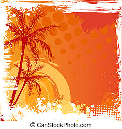 Grunge backgound with palm trees - Palm trees on orange...