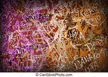 Colorful grunge background with graffiti and writings and a slight vignette.