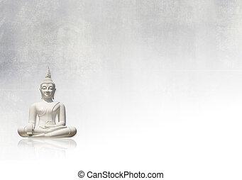 Grunge background, buddha - White buddha and light grungy...