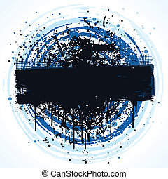 Circular grunge banner background design with paint splatter