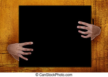 Grunge Background Frame With Hands Holding Blank Copy Space....