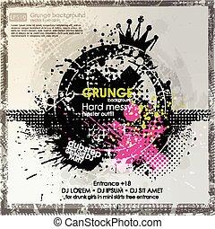 Grunge background in black color. Vector illustration.