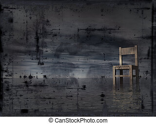 grunge background - lonely chair at water - illustration