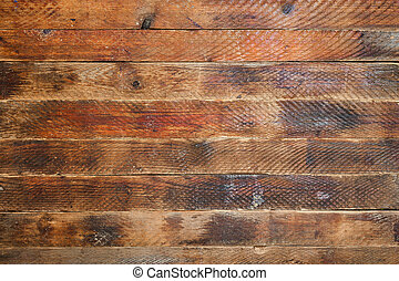Grunge background made of old textured horizontal brown wooden boards.