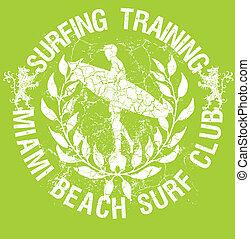 grunge background surf club wreath vector art