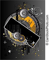 Grunge Background - Vertical Vector Gray and Orange Grunge ...