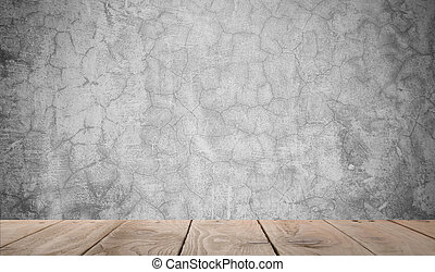 Grunge background wallpaper with wood floor, Concrete Concept
