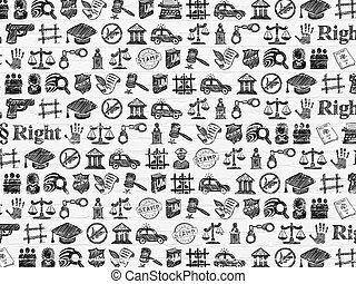 Grunge background: White Brick wall texture with Row Of Black doodle Hand Drawn Law Icons