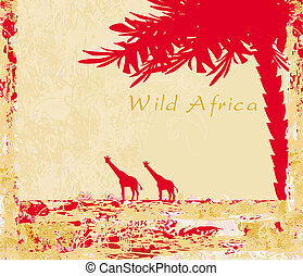 African fauna and flora - grunge background with African...