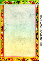 Grunge background with African traditional patterns