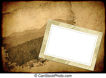 Grunge background with an empty old frame