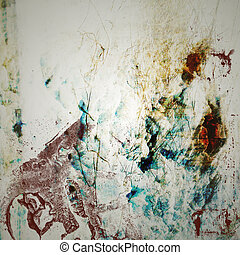 Grunge Background with Blue and Red Stains