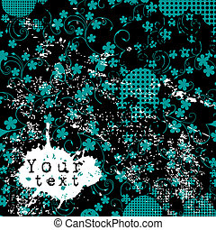 Grunge background with blue flowers and place for your text