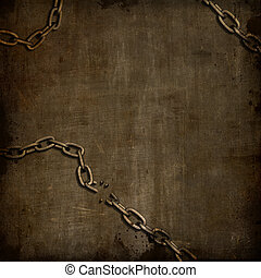 Grunge background with broken chains