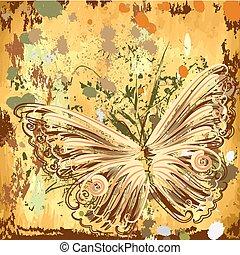 grunge background with butterflies autumn