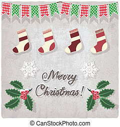 grunge background with Christmas decorative elements