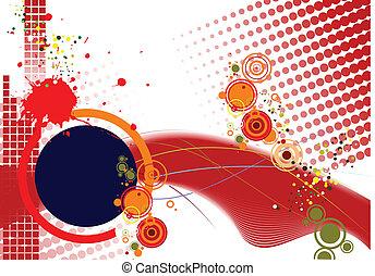 Grunge background with circle eleme
