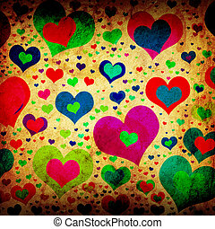 grunge background with colorful hearts