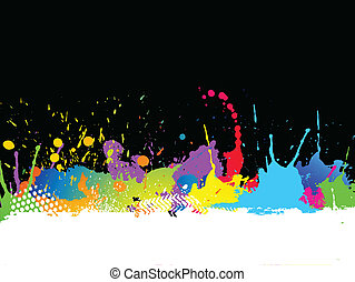 Grunge background with colourful paint splats