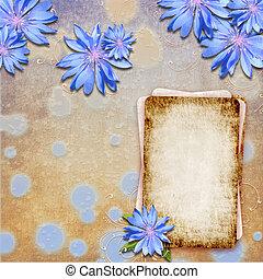 Grunge background with cornflowers