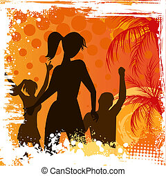 Grunge background with dancing people