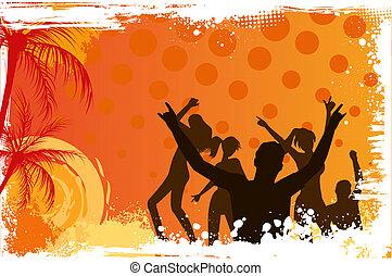 Grunge background with dancing people - Orange grunge palm...