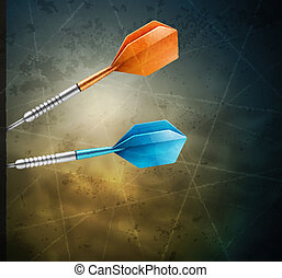 Grunge background with darts