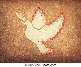 grunge background with dove shape