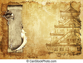 Grunge background with dragons and scrolls of old parchment