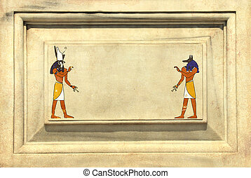 Grunge background with Egyptian gods images Anubis and Horus